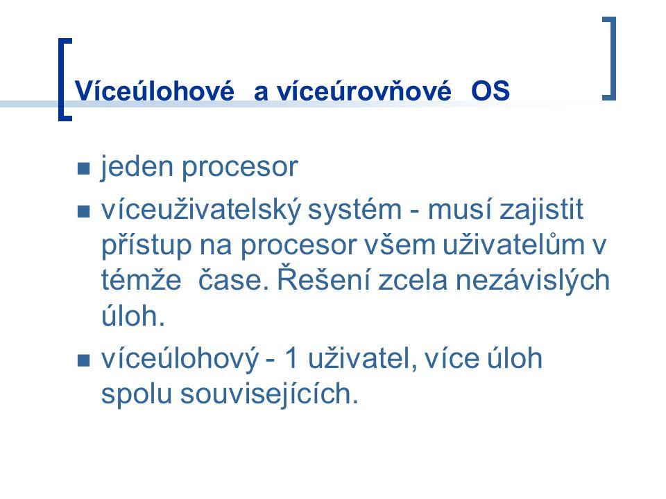 Víceúlohové a víceúrovňové OS jeden procesor víceuživatelský systém - musí zajistit přístup na procesor všem uživatelům v témže čase.