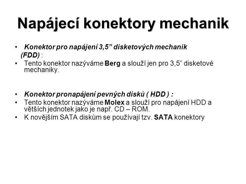"""Napájecí konektory mechanik Konektor pro napájení 3,5"""" disketových mechanik (FDD) : Tento konektor nazýváme Berg a slouží jen pro 3,5"""" disketové mecha"""