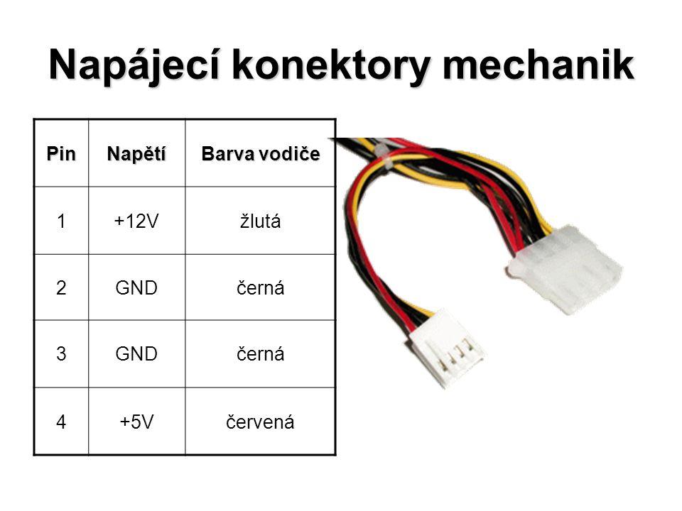 Napájecí konektory mechanik PinNapětí Barva vodiče 1+12Vžlutá 2GNDčerná 3GNDčerná 4+5Včervená