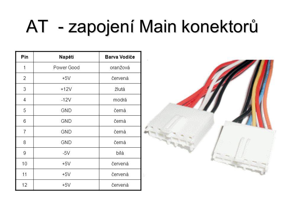 AT - zapojení Main konektorů PinNapětí Barva Vodiče 1Power Goodoranžová 2+5Včervená 3+12Vžlutá 4-12Vmodrá 5GNDčerná 6GNDčerná 7GNDčerná 8GNDčerná 9-5V