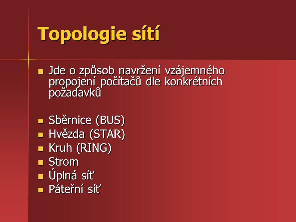 Topologie páteřní Nosný systém využívá vysokou rychlost přenosu a na ní jsou připojeny jednotlivé další topologie Nosný systém využívá vysokou rychlost přenosu a na ní jsou připojeny jednotlivé další topologie Komunikace uvnitř některé topologie neprobíhá přes páteř Komunikace uvnitř některé topologie neprobíhá přes páteř