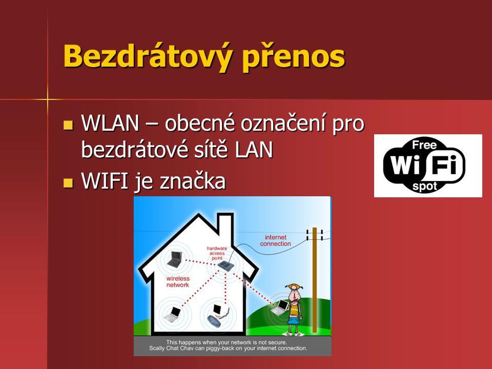 Bezdrátový přenos WLAN – obecné označení pro bezdrátové sítě LAN WLAN – obecné označení pro bezdrátové sítě LAN WIFI je značka WIFI je značka