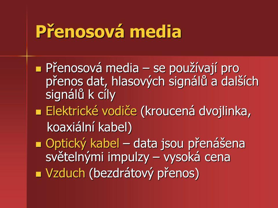 Přenosová media Přenosová media – se používají pro přenos dat, hlasových signálů a dalších signálů k cíly Přenosová media – se používají pro přenos da