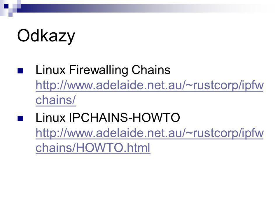 Odkazy Linux Firewalling Chains http://www.adelaide.net.au/~rustcorp/ipfw chains/ http://www.adelaide.net.au/~rustcorp/ipfw chains/ Linux IPCHAINS-HOWTO http://www.adelaide.net.au/~rustcorp/ipfw chains/HOWTO.html http://www.adelaide.net.au/~rustcorp/ipfw chains/HOWTO.html
