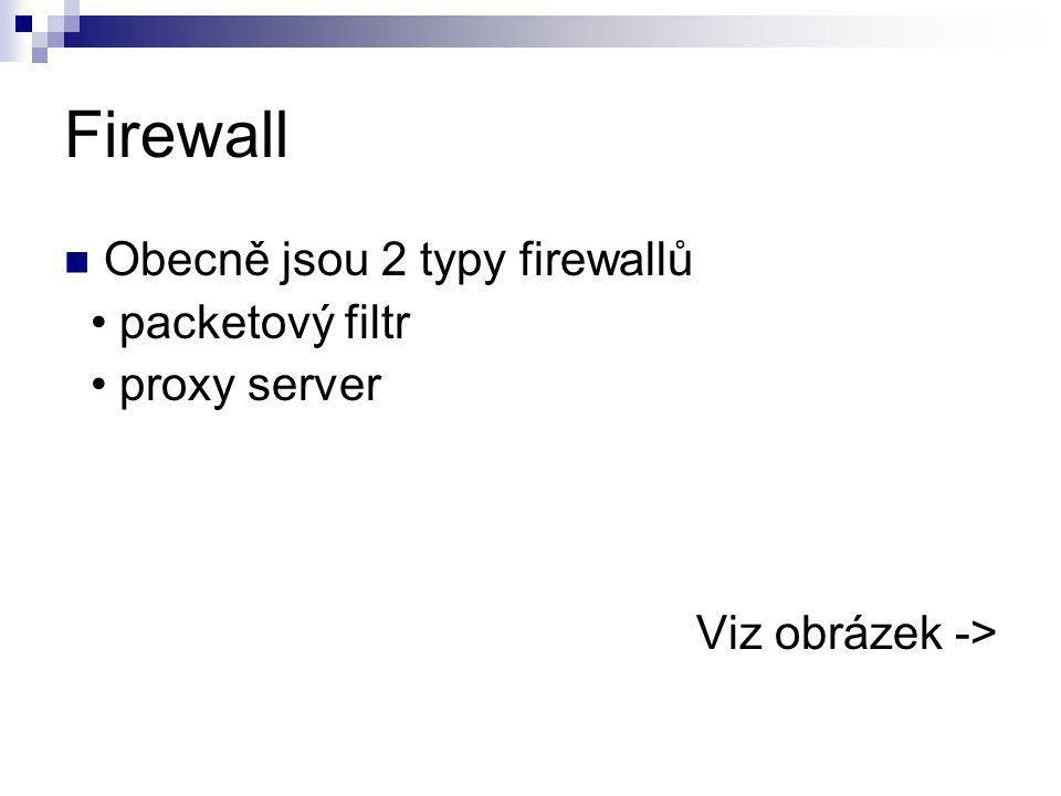 Firewall Obecně jsou 2 typy firewallů packetový filtr proxy server Viz obrázek ->