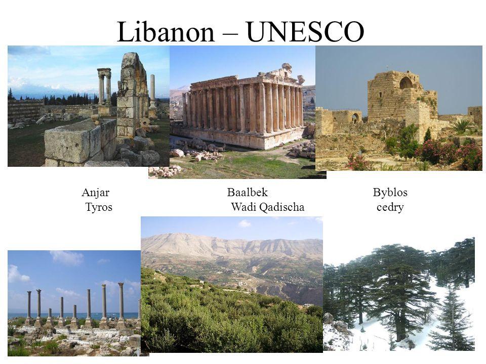 Libanon – UNESCO AnjarBaalbekByblos Tyros Wadi Qadischacedry