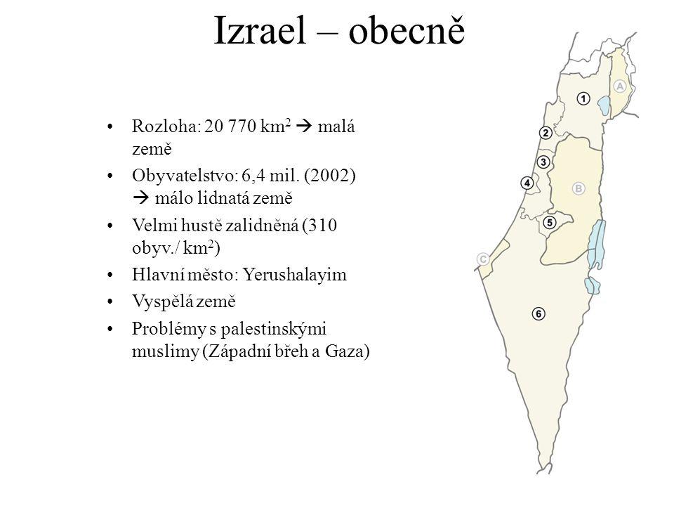 Izrael – obecně Rozloha: 20 770 km 2  malá země Obyvatelstvo: 6,4 mil.