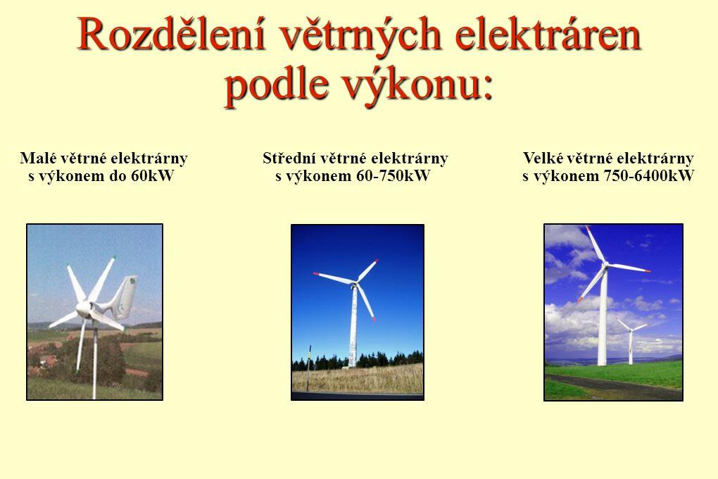 Rozdělení větrných elektráren podle výkonu: Malé větrné elektrárny Střední větrné elektrárny Velké větrné elektrárny s výkonem do 60kW s výkonem 60-75