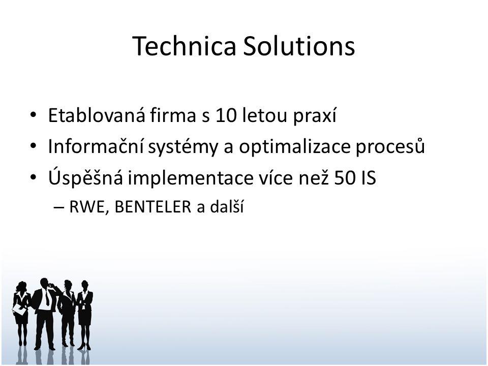 Technica Solutions Etablovaná firma s 10 letou praxí Informační systémy a optimalizace procesů Úspěšná implementace více než 50 IS – RWE, BENTELER a d