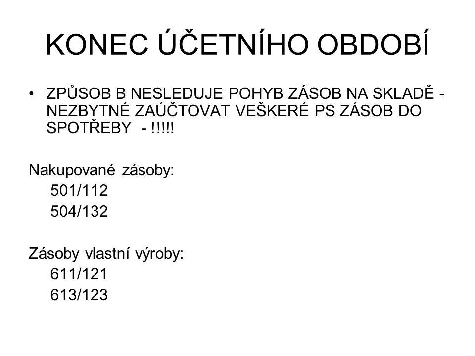 KONEC ÚČETNÍHO OBDOBÍ NA ZÁKLADĚ PROVEDENÉ INVENTURY SE ZJISTÍ NOVÉ KONEČNÉ ZŮSTATKY, KTERÉ JE TŘEBA ZAÚČTOVAT NA JEDNOTLIVÉ ÚČTY ZÁSOB Nakupované zásoby: 112/501 132/504 Zásoby vlastní výroby: 121/611 123/613