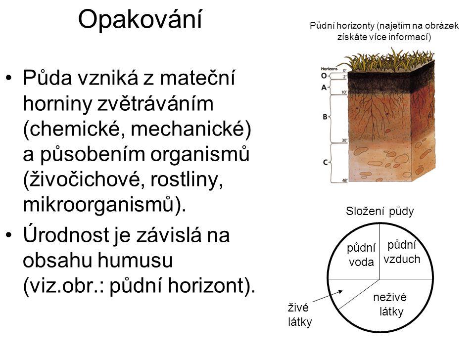 Opakování Půda vzniká z mateční horniny zvětráváním (chemické, mechanické) a působením organismů (živočichové, rostliny, mikroorganismů).