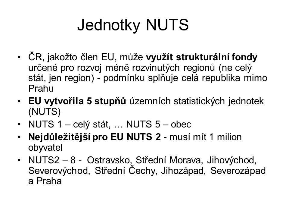 Jednotky NUTS ČR, jakožto člen EU, může využít strukturální fondy určené pro rozvoj méně rozvinutých regionů (ne celý stát, jen region) - podmínku splňuje celá republika mimo Prahu EU vytvořila 5 stupňů územních statistických jednotek (NUTS) NUTS 1 – celý stát, … NUTS 5 – obec Nejdůležitější pro EU NUTS 2 - musí mít 1 milion obyvatel NUTS2 – 8 - Ostravsko, Střední Morava, Jihovýchod, Severovýchod, Střední Čechy, Jihozápad, Severozápad a Praha
