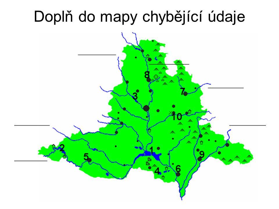Doplň do mapy chybějící údaje