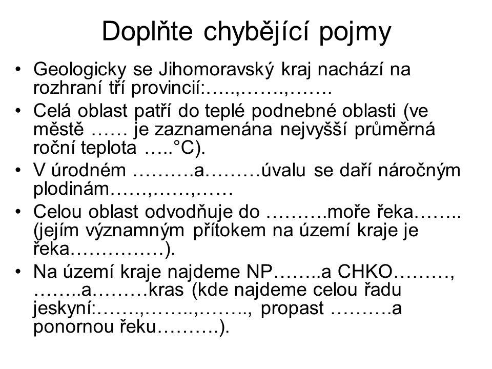 Doplňte chybějící pojmy - řešení Geologicky se Jihomoravský kraj nachází na rozhraní tří provincií: Česká vysočina,Vněkarpatské sníženiny, Západopanonská pánev.