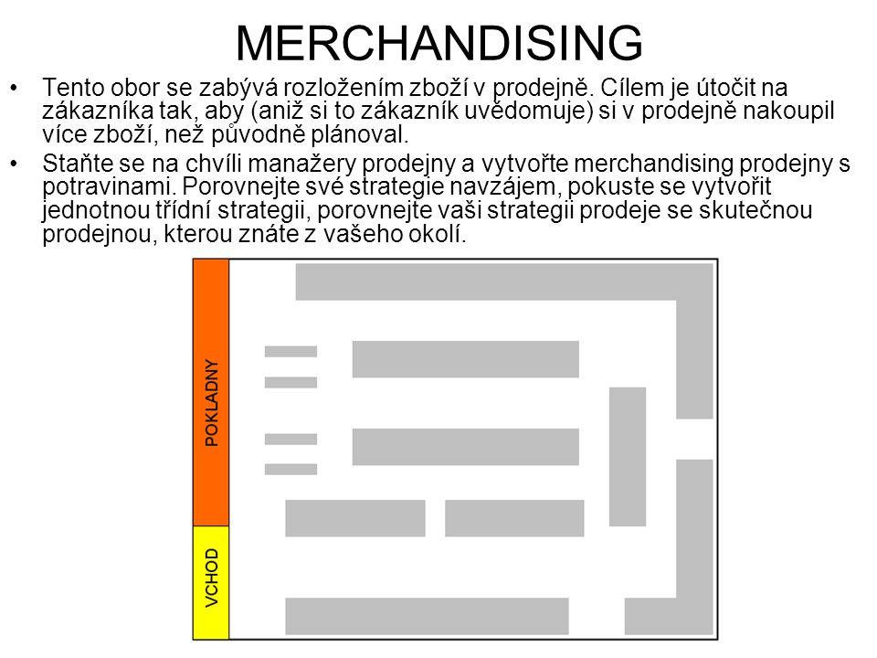 MERCHANDISING Tento obor se zabývá rozložením zboží v prodejně.