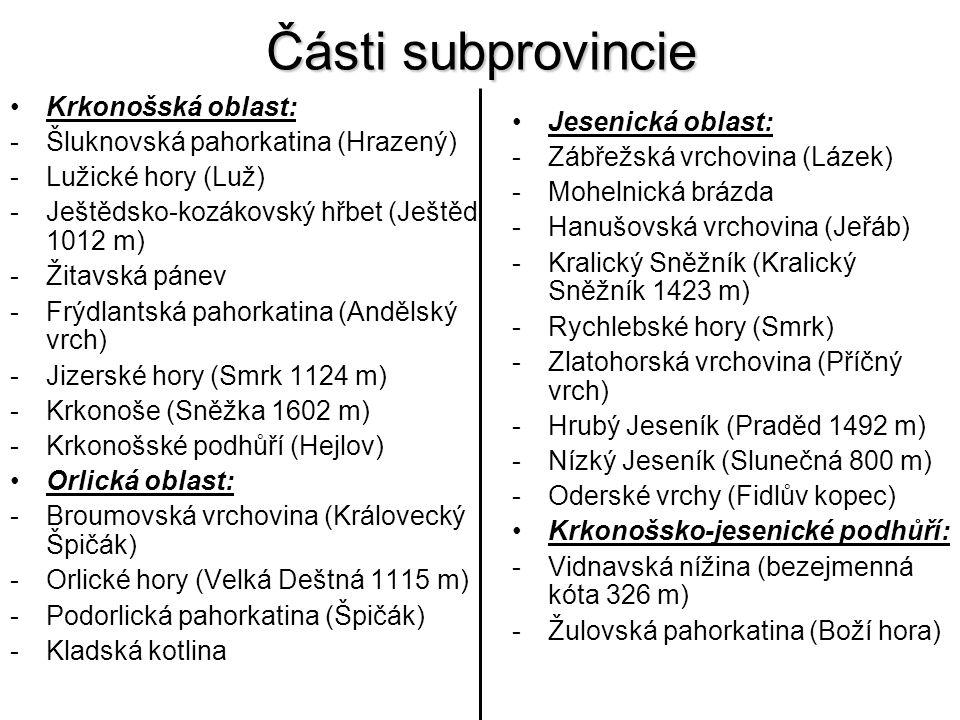 Části subprovincie Krkonošská oblast: -Šluknovská pahorkatina (Hrazený) -Lužické hory (Luž) -Ještědsko-kozákovský hřbet (Ještěd 1012 m) -Žitavská páne