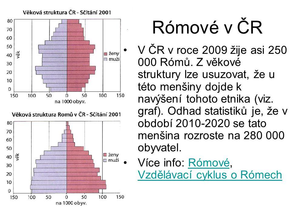 Rómové v ČR V ČR v roce 2009 žije asi 250 000 Rómů. Z věkové struktury lze usuzovat, že u této menšiny dojde k navýšení tohoto etnika (viz. graf). Odh
