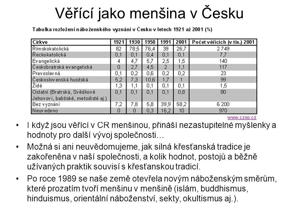 Věřící jako menšina v Česku I když jsou věřící v ČR menšinou, přináší nezastupitelné myšlenky a hodnoty pro další vývoj společnosti… Možná si ani neuv