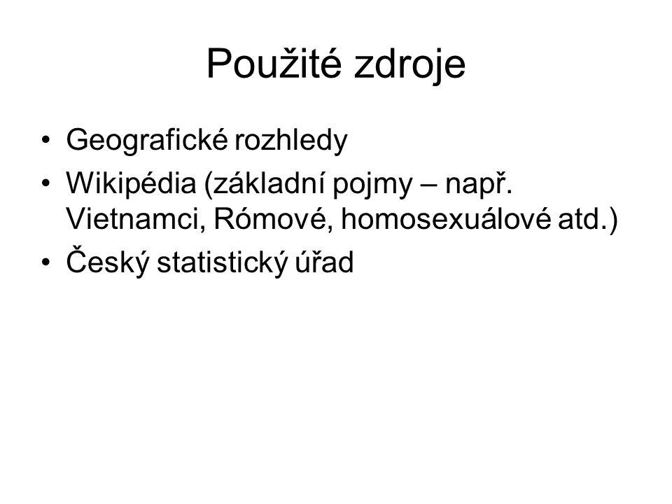 Použité zdroje Geografické rozhledy Wikipédia (základní pojmy – např. Vietnamci, Rómové, homosexuálové atd.) Český statistický úřad