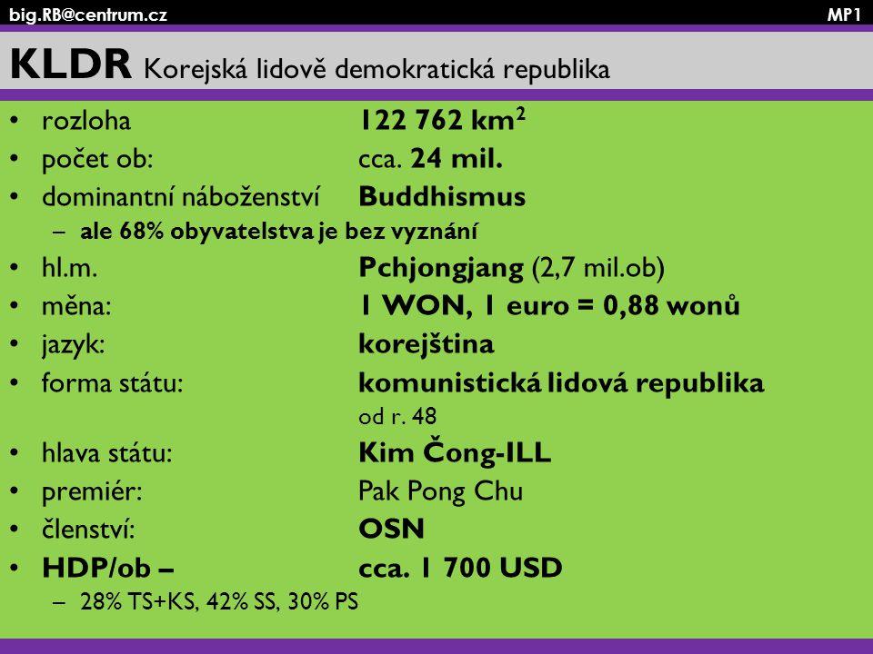 big.RB@centrum.cz MP1 KLDR Korejská lidově demokratická republika rozloha 122 762 km 2 počet ob: cca. 24 mil. dominantní náboženství Buddhismus –ale 6