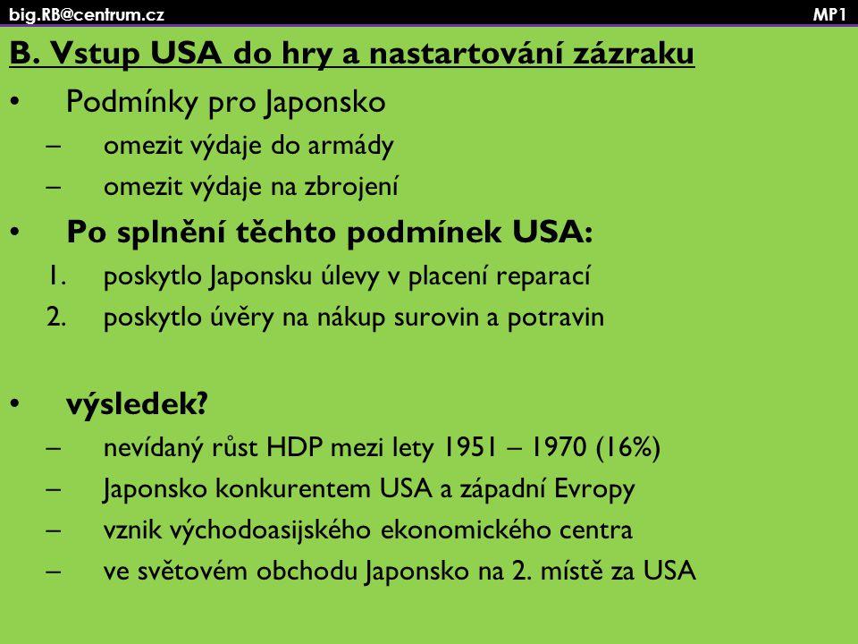 big.RB@centrum.cz MP1 B. Vstup USA do hry a nastartování zázraku Podmínky pro Japonsko –omezit výdaje do armády –omezit výdaje na zbrojení Po splnění