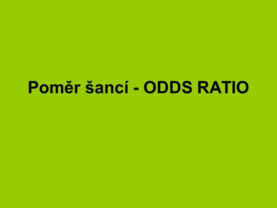 Poměr šancí - ODDS RATIO (OR) OR ukazuje asociaci v kontingenčních tabulkách šance (O) = poměr pravděpodobnosti jedné možnosti p1 (událost nastala) ke druhé p2(událost nenastala) (šance nebo také riziko) OR = poměr dvou šancí (odds) OR = f 11 *f 22 / f 12 *f 21 =