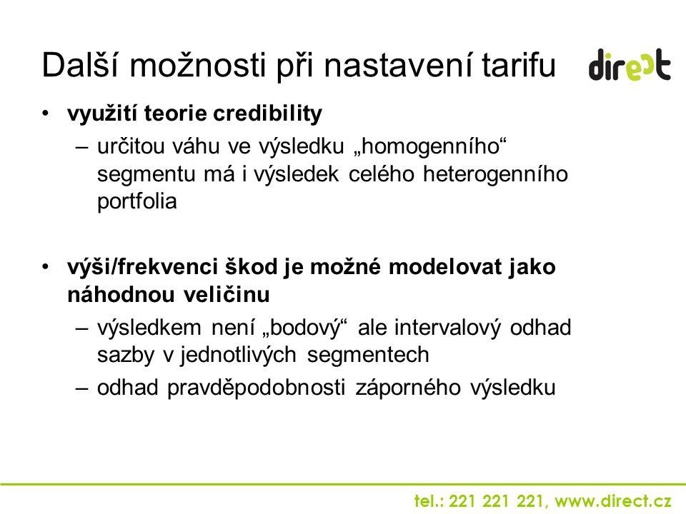 """tel.: 221 221 221, www.direct.cz využití teorie credibility –určitou váhu ve výsledku """"homogenního"""" segmentu má i výsledek celého heterogenního portfo"""