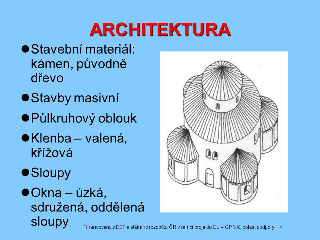 ARCHITEKTURA Stavební materiál: kámen, původně dřevo Stavby masivní Půlkruhový oblouk Klenba – valená, křížová Sloupy Okna – úzká, sdružená, oddělená