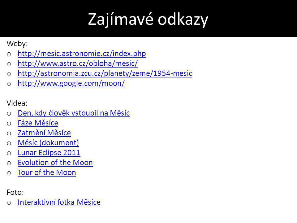 Zajímavé odkazy Weby: o http://mesic.astronomie.cz/index.php http://mesic.astronomie.cz/index.php o http://www.astro.cz/obloha/mesic/ http://www.astro