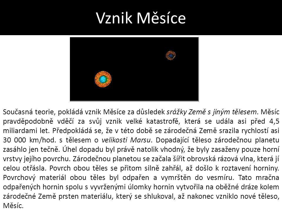 Vznik Měsíce Současná teorie, pokládá vznik Měsíce za důsledek srážky Země s jiným tělesem. Měsíc pravděpodobně vděčí za svůj vznik velké katastrofě,