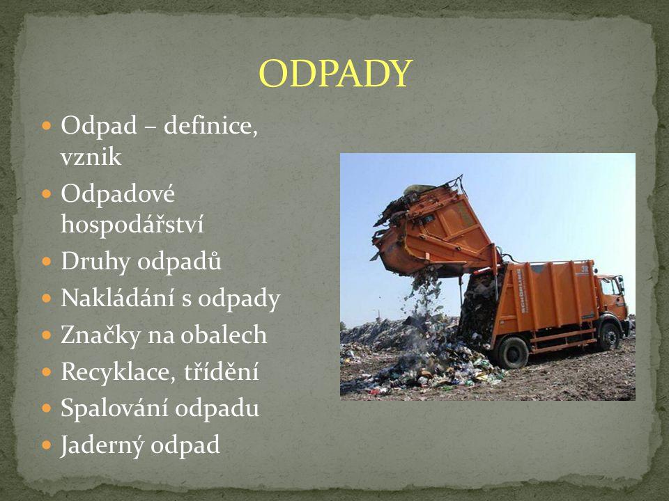 Odpad – definice, vznik Odpadové hospodářství Druhy odpadů Nakládání s odpady Značky na obalech Recyklace, třídění Spalování odpadu Jaderný odpad