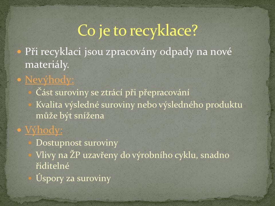 Při recyklaci jsou zpracovány odpady na nové materiály.