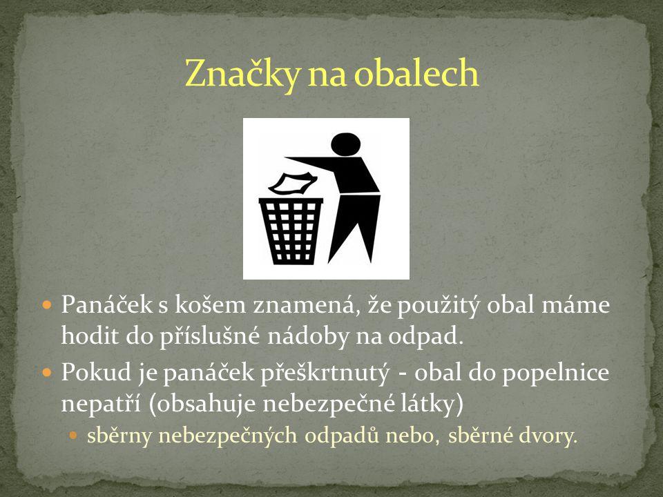 Panáček s košem znamená, že použitý obal máme hodit do příslušné nádoby na odpad.