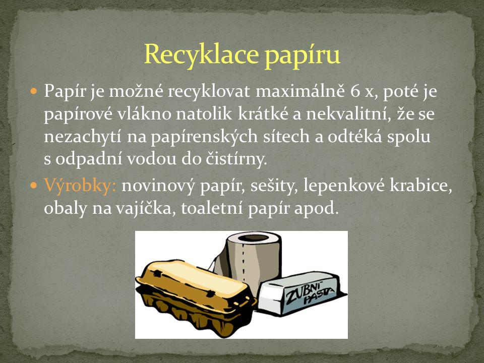 Papír je možné recyklovat maximálně 6 x, poté je papírové vlákno natolik krátké a nekvalitní, že se nezachytí na papírenských sítech a odtéká spolu s odpadní vodou do čistírny.