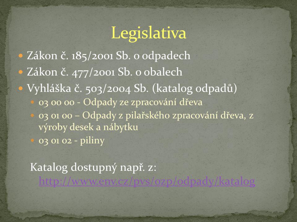 Zákon č.185/2001 Sb. o odpadech Zákon č. 477/2001 Sb.