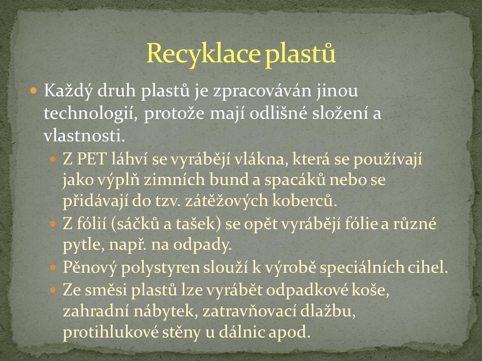 Každý druh plastů je zpracováván jinou technologií, protože mají odlišné složení a vlastnosti.