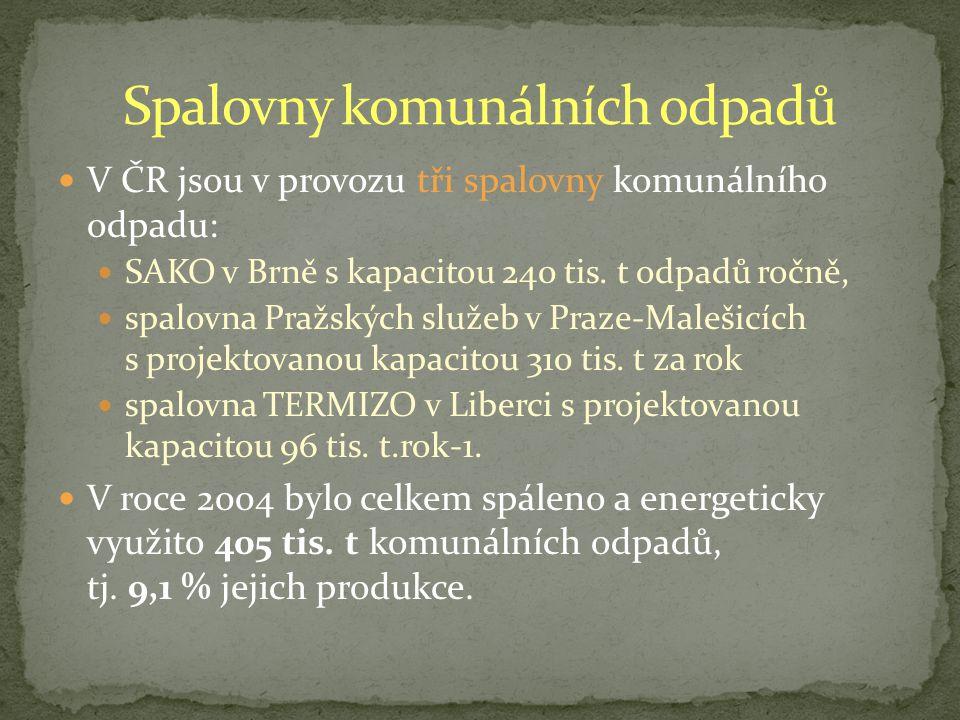 V ČR jsou v provozu tři spalovny komunálního odpadu: SAKO v Brně s kapacitou 240 tis.