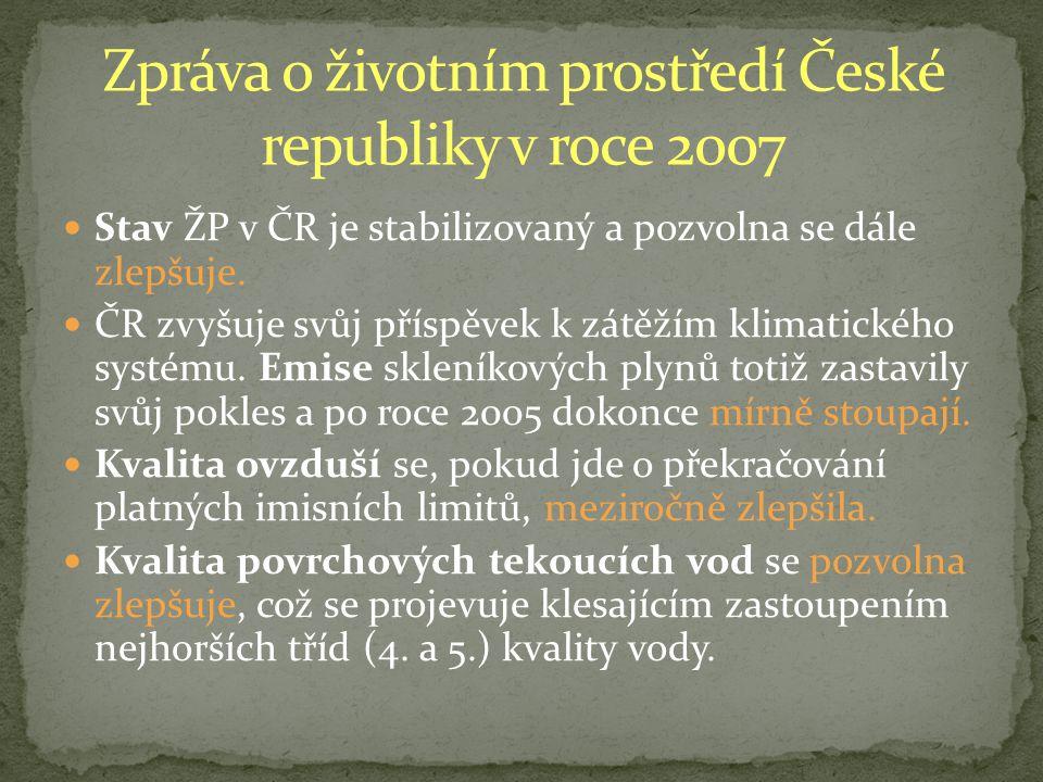Stav ŽP v ČR je stabilizovaný a pozvolna se dále zlepšuje.