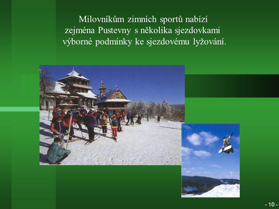 Milovníkům zimních sportů nabízí zejména Pustevny s několika sjezdovkami výborné podmínky ke sjezdovému lyžování.