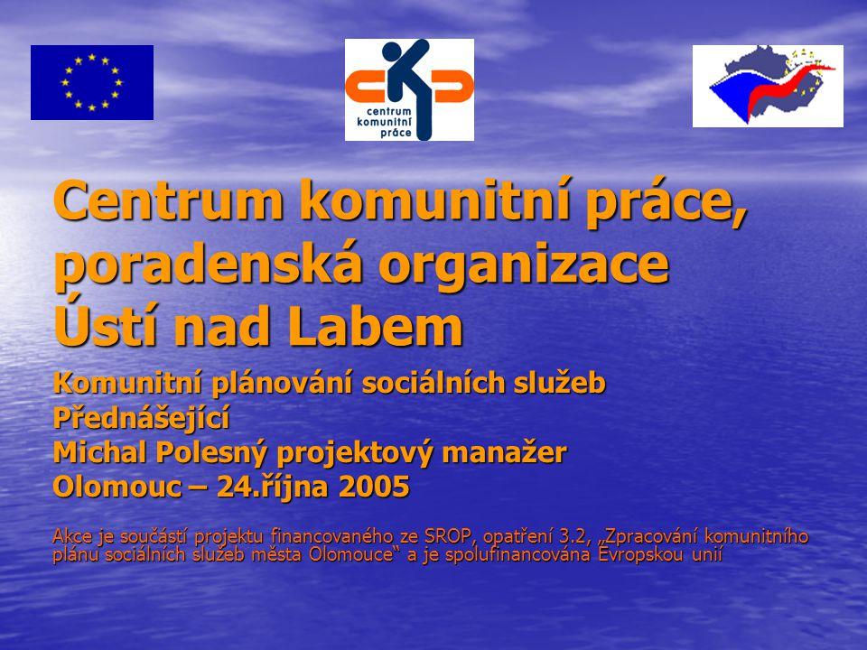 Centrum komunitní práce, poradenská organizace Ústí nad Labem Komunitní plánování sociálních služeb Přednášející Michal Polesný projektový manažer Olo