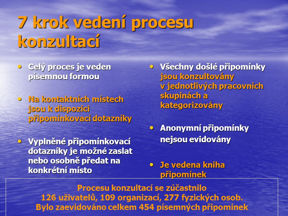 7 krok vedení procesu konzultací Celý proces je veden písemnou formou Celý proces je veden písemnou formou Na kontaktních místech jsou k dispozici při