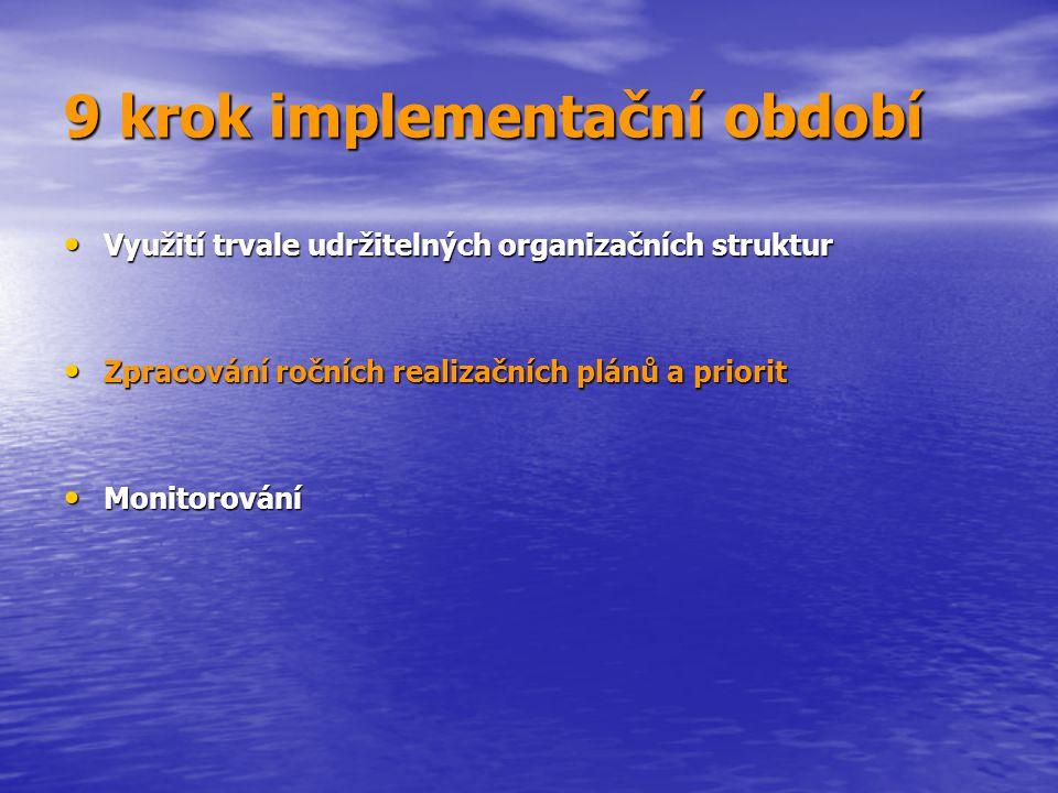 9 krok implementační období Využití trvale udržitelných organizačních struktur Využití trvale udržitelných organizačních struktur Zpracování ročních r