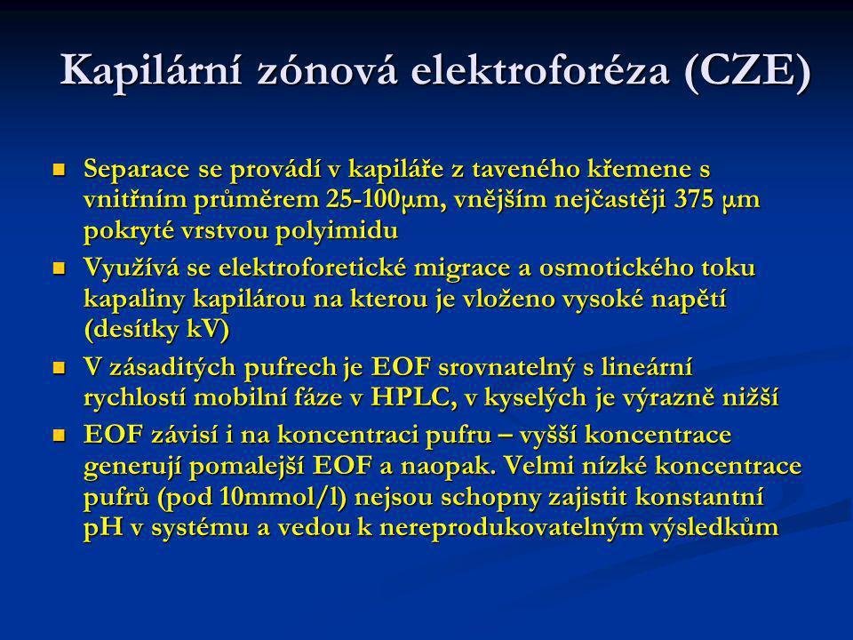 Kapilární zónová elektroforéza (CZE) Rychlostní profil v kapalině hnané elektroosmózou je plochý a proto je dosahováno vyšších účinností než v HPLC Rychlostní profil v kapalině hnané elektroosmózou je plochý a proto je dosahováno vyšších účinností než v HPLC Vlivem elektrického proudu (desítky až stovky μA) vzniká Jouleovo teplo, které je nutno odvést stěnou kapiláry do okolí a deformuje rychlostní profil.