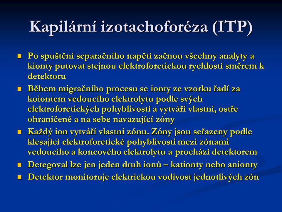 Kapilární izotachoforéza (ITP) Izotachoforegram má schodovitý průběh, každý schod- jeden analyt.