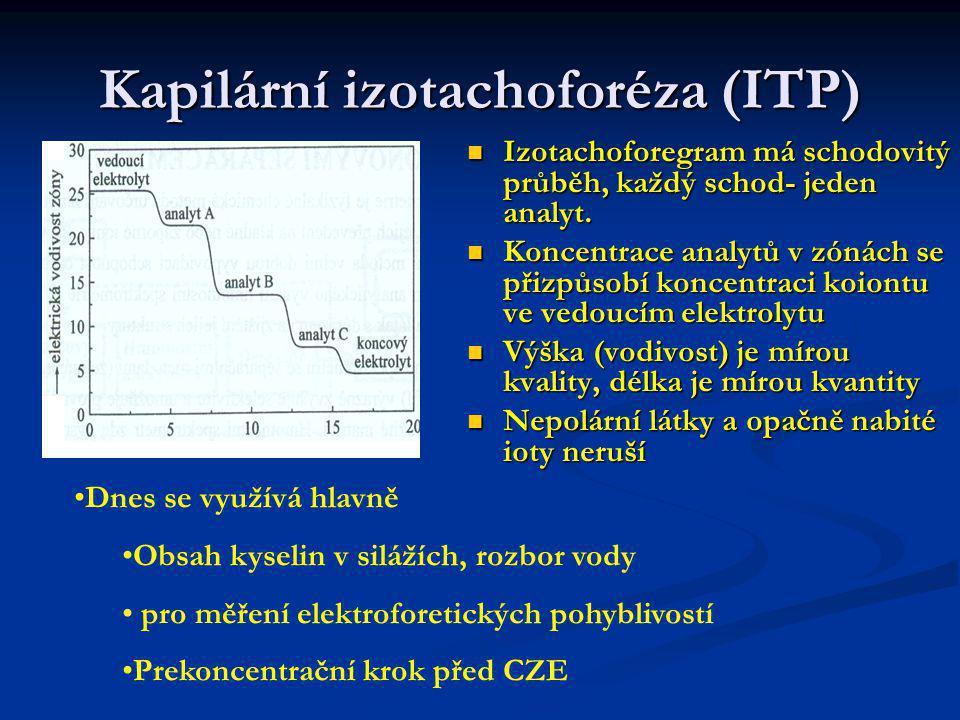 Kapilární izotachoforéza (ITP) Izotachoforegram má schodovitý průběh, každý schod- jeden analyt. Koncentrace analytů v zónách se přizpůsobí koncentrac