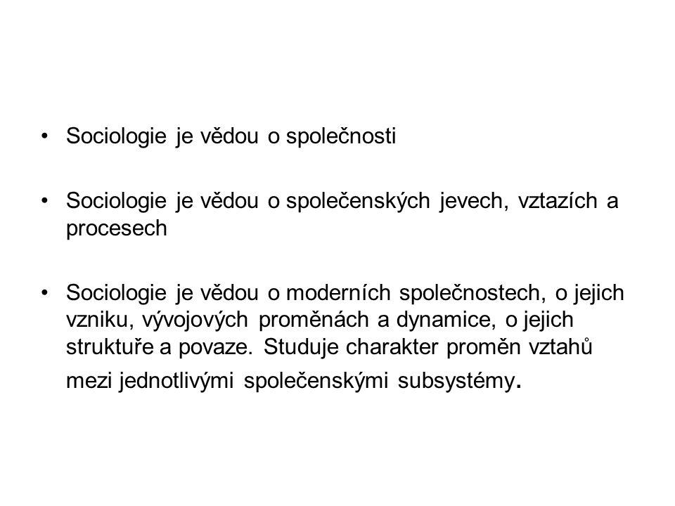 Sociologie: Teoretická Empirická Sociologie: Obecná Speciální/oborové sociologie Funkce sociologie: Poznávací (vědecká) Sociotechnická (aplikační) Kritická