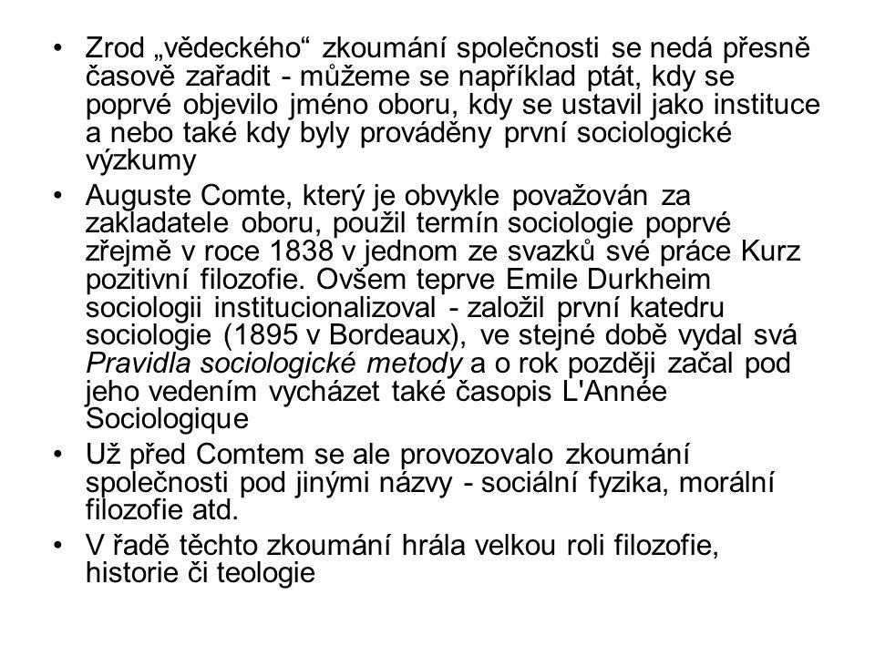 Auguste Comte (1798 – 1857) Isidore Auguste Marie Fran ç ois Xavier Comte 1822 raná práce Plán vědeckých studií nutných pro vědeckou reorganizaci společnosti Kurz pozitivní filozofie (8 svazků publikovaných mezi 1830 a 1842) Systém pozitivní politiky 1851–1854