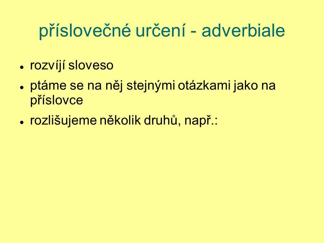 příslovečné určení - adverbiale rozvíjí sloveso ptáme se na něj stejnými otázkami jako na příslovce rozlišujeme několik druhů, např.: