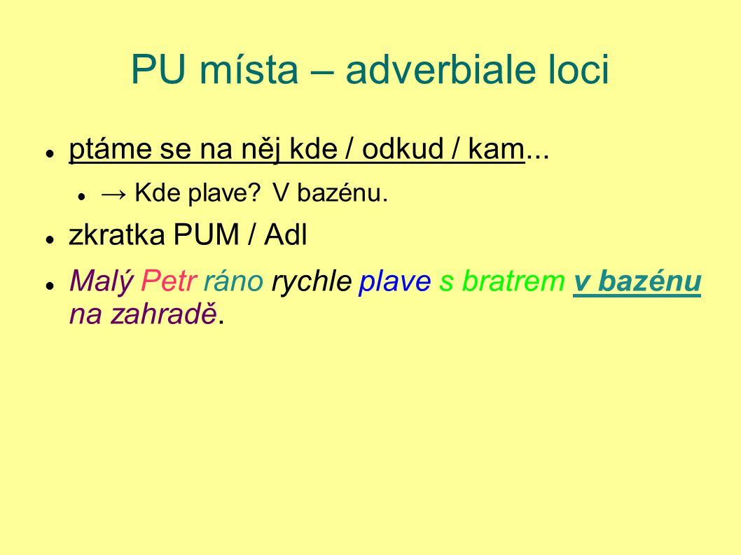 PU místa – adverbiale loci ptáme se na něj kde / odkud / kam... → Kde plave? V bazénu. zkratka PUM / Adl Malý Petr ráno rychle plave s bratrem v bazén