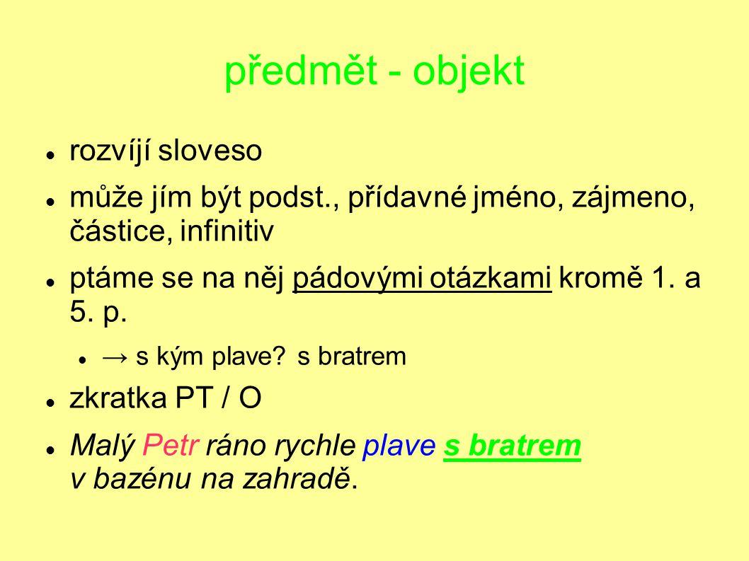 předmět - objekt rozvíjí sloveso může jím být podst., přídavné jméno, zájmeno, částice, infinitiv ptáme se na něj pádovými otázkami kromě 1. a 5. p. →